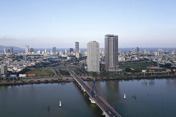 Thành phố Đà Nẵng nhìn từ dự án khu phực hợp khách sạn, căn hộ và văn phòng cho thuê Bạch Đằng